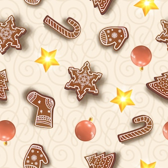 Padrão sem emenda de natal com bolas coloridas, flocos de neve, luvas, doces, meias e estrelas brilhantes