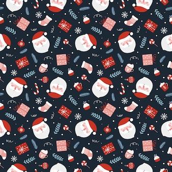Padrão sem emenda de natal com bolas de presentes engraçados do papai noel, bastão de doces, meia de natal e galhos