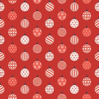 Padrão sem emenda de natal com bolas vermelhas e brancas.