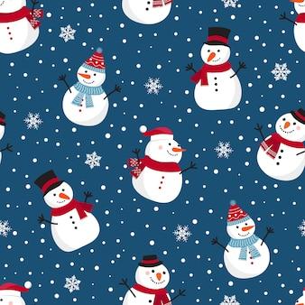 Padrão sem emenda de natal com boneco de neve
