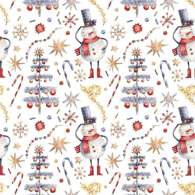 Padrão sem emenda de natal com bonecos de neve, doces, flocos de neve e árvores.