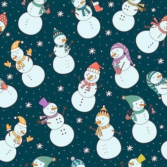 Padrão sem emenda de natal com bonecos de neve fofos e queda de neve.