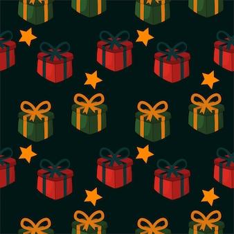 Padrão sem emenda de natal com caixa de presente de natal