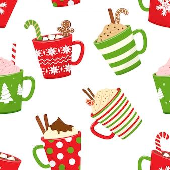 Padrão sem emenda de natal com chocolate quente, canecas de desenhos animados com bebidas de férias.