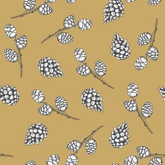 Padrão sem emenda de natal com decorações para árvores de natal, arte desenhada à mão de ramos de pinheiro