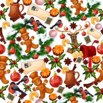 Padrão sem emenda de natal com decorações