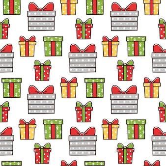 Padrão sem emenda de natal com diferentes caixas de presente