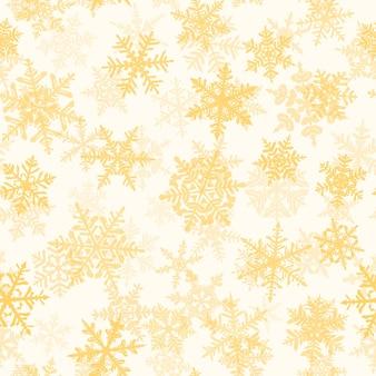 Padrão sem emenda de natal com flocos de neve complexos grandes e pequenos, amarelos sobre fundo branco