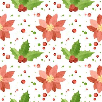 Padrão sem emenda de natal com flores de poinsétia e folhas de azevinho papel digital de férias