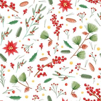 Padrão sem emenda de natal com folhas de azevinho, plantas de poinsétia e visco, pinhas e galhos em fundo branco