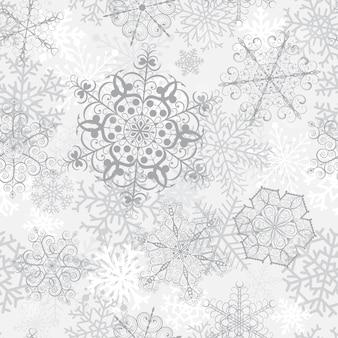Padrão sem emenda de natal com grandes flocos de neve cinza