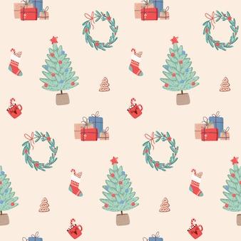 Padrão sem emenda de natal com grinaldas de presentes e presentes