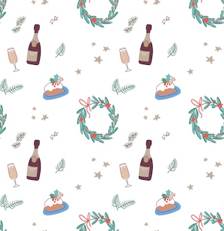 Padrão sem emenda de natal com grinaldas e champanhe