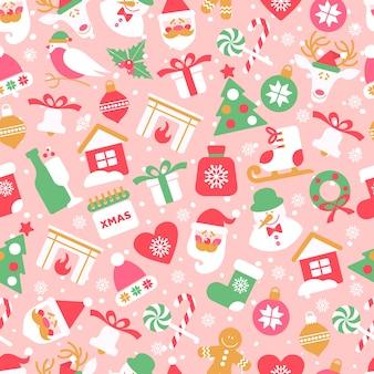 Padrão sem emenda de natal com ícones de ano novo em fundo rosa.