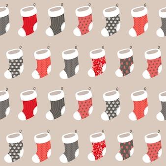 Padrão sem emenda de natal com meias