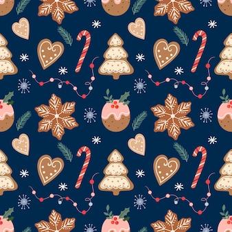 Padrão sem emenda de natal com pão de mel, biscoitos e doces tradicionais de natal, design de inverno