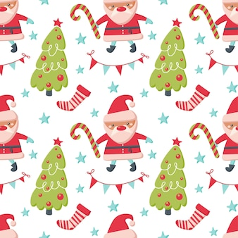 Padrão sem emenda de natal com papai noel, árvore, meias isoladas no fundo branco. ilustração em vetor plana. design para pano de fundo, embrulho, papel de parede, têxtil, embalagem