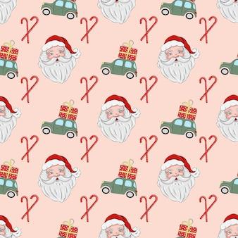 Padrão sem emenda de natal com papai noel e carro verde com um presente no telhado