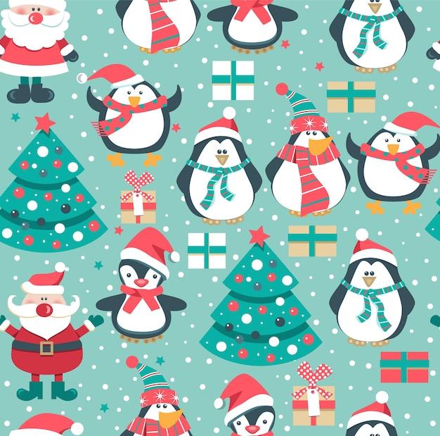 Padrão sem emenda de natal com papai noel e pinguins.