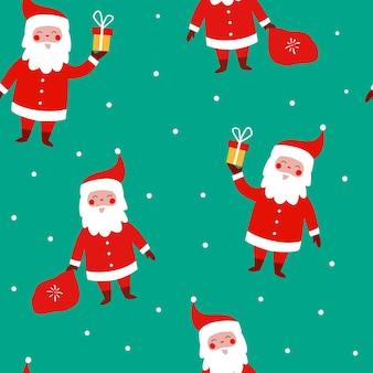 Padrão sem emenda de natal com papai noel engraçado com um saco de flocos de neve de presentes