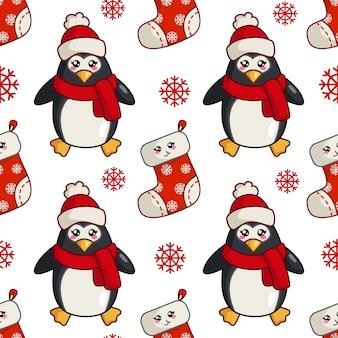 Padrão sem emenda de natal com pinguim fofo kawaii