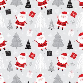Padrão sem emenda de natal com presentes bonitos do papai noel e árvores de natal.