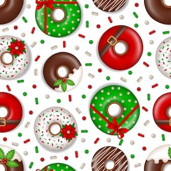 Padrão sem emenda de natal com textura de donuts e doces de natal