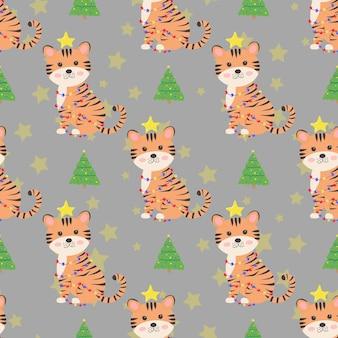 Padrão sem emenda de natal com tigre fofo e árvore de natal conceito de ano novo