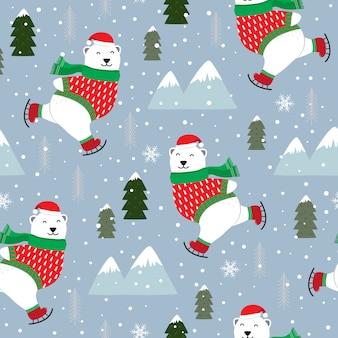 Padrão sem emenda de natal com urso polar patinar no gelo