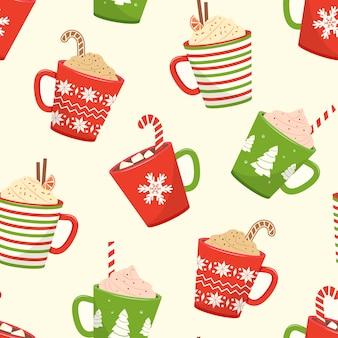 Padrão sem emenda de natal com xícaras de chocolate quente, canecas de desenho animado com bebidas de férias. ilustração