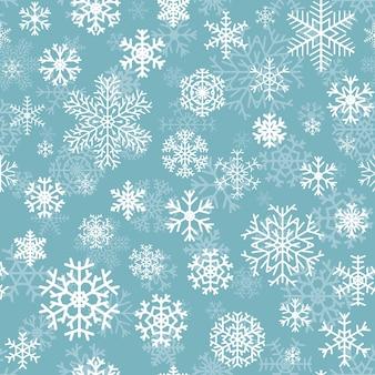 Padrão sem emenda de natal de flocos de neve brancos em fundo turquesa