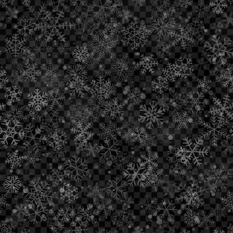 Padrão sem emenda de natal de flocos de neve de diferentes formas, tamanhos e transparência em cores brancas sobre fundo transparente