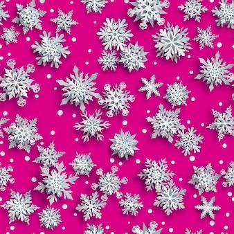 Padrão sem emenda de natal de flocos de neve de papel branco complexo com sombras suaves no fundo rosa