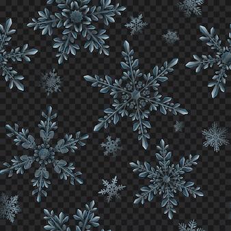 Padrão sem emenda de natal de flocos de neve translúcidos em cores azuis claras em fundo transparente