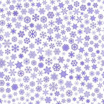 Padrão sem emenda de natal de pequenos flocos de neve, azul e branco