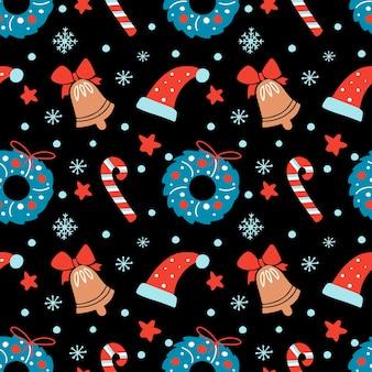 Padrão sem emenda de natal desenhada à mão com guirlanda floral chapéu de sino estrela doce de bengala