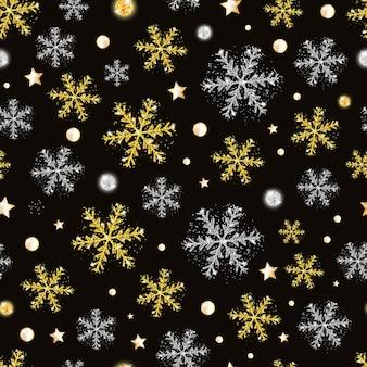 Padrão sem emenda de natal e ano novo com flocos de neve de ouro e prata