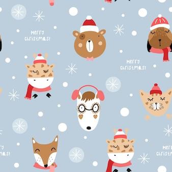 Padrão sem emenda de natal e feliz ano novo com animais fofos.