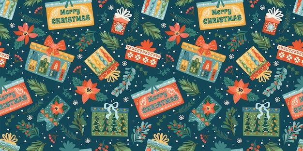 Padrão sem emenda de natal e feliz ano novo com caixas de presente. molde do projeto do vetor.
