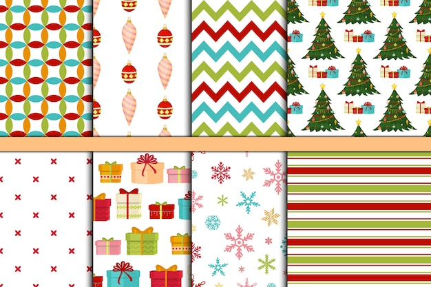 Padrão sem emenda de natal e papel decorativo de fundo de férias de inverno de feliz ano novo