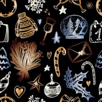 Padrão sem emenda de natal em um fundo preto impressão de natal na mão desenhar estilo