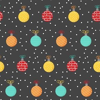 Padrão sem emenda de natal, enfeites coloridos, brinquedos para árvores de ano novo, impressão repetida