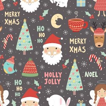 Padrão sem emenda de natal engraçado com papai noel e árvore de natal.