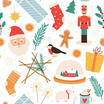 Padrão sem emenda de natal. feliz férias de inverno e feliz ano novo com presentes, pão de mel, papai noel, quebra-nozes e brinquedos para árvores, impressão vetorial, ilustração de decoração de feliz natal inverno sem costura
