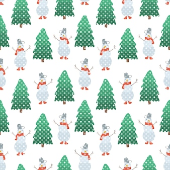 Padrão sem emenda de natal fofo de bonecos de neve desenhados à mão e abetos verdes com neve branca pontilhada