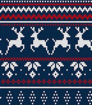 Padrão sem emenda de natal ou padrão escandynaviano, ornamento de tecido tradicional de inverno de ilustração.