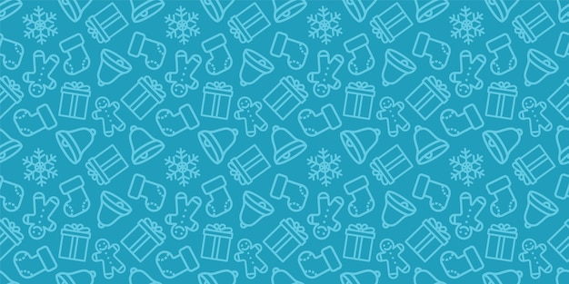 Padrão sem emenda de natal. textura de vetor de ano novo. ornamento azul sem costura festivo com ícones de natal.