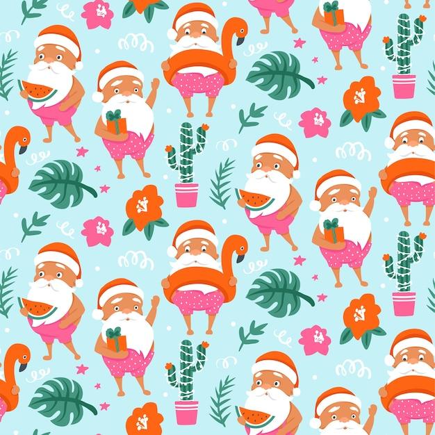 Padrão sem emenda de natal tropical com verão papai noel em anel inflável de flamingo.