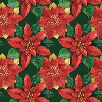 Padrão sem emenda de natal vermelho verde estrela poinsétia