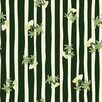 Padrão sem emenda de natureza com ilhas exóticas verdes e silhuetas de palmeiras. fundo listrado preto e cinza. projetado para design de tecido, impressão têxtil, embalagem, capa. ilustração vetorial.